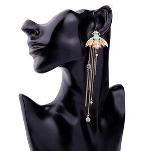 New designer tassel earrings 925 Sterling Silver Cute Bee Drop long dangle white tassel earrings for Women jewelry for Teen Girls gift