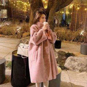 Winter Coat Women Warm Faux Fur Mink Plush Coats Korea Fahion Female Outerwear Clothing Ladies Luxury Cardigans Long Jacket