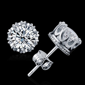 New Crown Wedding Stud Earring New 925 Sterling Silver CZ Simulated Diamonds Engagement Beautiful Jewelry Crystal Ear Rings