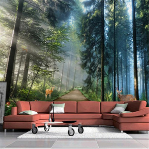 Sunshine Forest Nature Landscape Mural Wallpaper 3D Milu deer Living Room Bedroom Backdrop Wall Design Murals Papel De Parede 3d