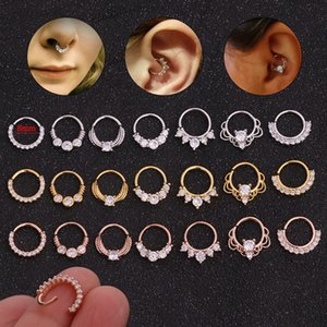 Zircon Nose Ring Creative Micro Inlay Nail Nails Round Nasal Septum Ear Bone Nails Human Piercing Jewelry