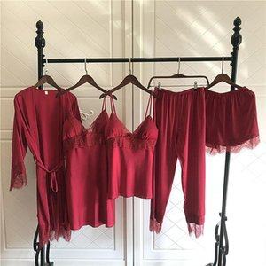 Sexy Women Pajamas 5 Pieces Sets Satin Sleepwear Pijama Silk Home Wear Embroidery Sleep Lounge Pyjama with Chest Pads V neck