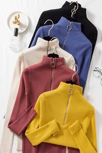 Hirsionsan Zipper O Neck Knitted Pullovers Women 2020 New Skinny Sexy Basic Sweater Elegant Korean Soft Khaki Brown Ladies Tops F1203