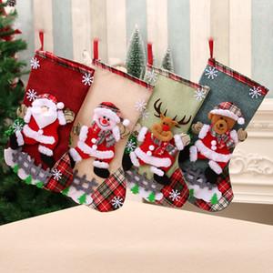 1PCS Christmas Stockings Socks with Snowman Santa Elk Bear Printing Xmas Candy Gift Bag Fireplace Xmas Tree Decoration New Year