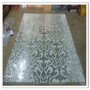 Customized Shiny Silver Butterfly Puzzle Art Glass Mosaic Tile, Wardrobe Cabinet Fireplace wall tile decor