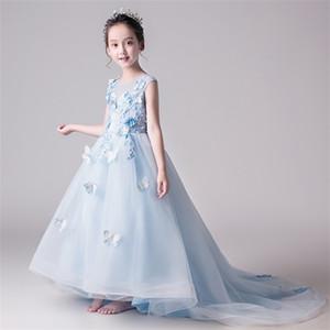 Длинные трейлинг-девушка свадебные платья светло-голубой тюль из бисера цветочные первые общинные платья дети вечернее платье Princess TUTU Q1118