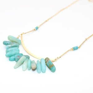 New Arrival Fan Natural Stone Pattern Copper Sheet Pendant Necklace For Women Gift Fashion Jewelry Wholesale