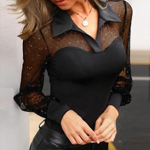 38 Blouse Women Long Sleeve V Neck Arm Shaper Top Dot Sheer Mesh Yoke Casual Blouse Shirt Boho Women Shirts Blusas Mujer