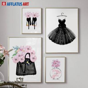 Moda Elbise Çanta Paris Parfüm Duvar Sanatı Tuval Boyama Nordic Posterler Ve Baskılar Duvar Resimleri Oturma Odası Dekor Için