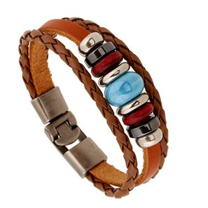 Seasons Retro Casual Wrap Bracelet Hand-woven Beaded Leather Hook Wristband For Male Female Vintage Strand Jewelry Bangles Man