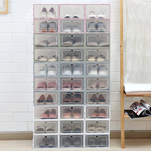 6Pcs Set Drawer Shoe Box Transparent Shoe Storage Organizer Shoes Clear Plastic Organizer AJ Basketball Shoe Display Wall C0116