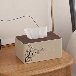 Plum Blossom PU Leather Tissue Box Rectangle Paper Towel Holder Napkin Storage