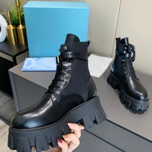 En Kaliteli Yeni Kadın Tasarımcılar Rois Deri ve Naylon Çizmeler Martin Ayakkabı Kadınlar Için Çıkarılabilir Kılıfı Siyah Lady Açık Patik Ayakkabı