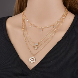 Fashion Shiny Crystal Stars Pendant Necklace Set for Women Charm Chain Gold Color Necklaces Statement Accesorios mujer