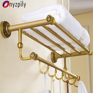 Onyzpily Bathroom Towel Rack Self Wall Mounted Space Aluminum Shelf Holder Storage Hanger Kitchen Hotel Towel Clothes Shelf With T200915
