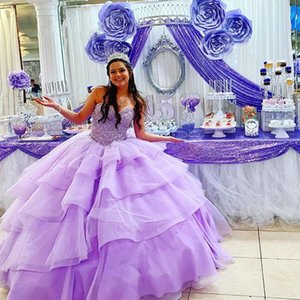 Lavender Quinceanera Dresses Ruffled 2021 Flowers Beaded Crystal Strapless Corset Back Princess Ball Gown Sweet 15 Dress 16 Girls Prom