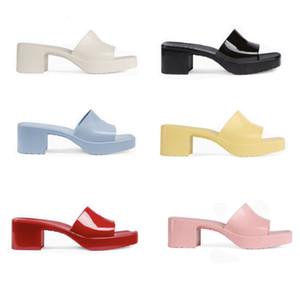 """Designer Sandalen Frauen High Heels Gummi Slide Sandale Plattform Slipper Chunky 2.4 """"Fersenhöhe Schuhe Sommer geprägte Flip Flops 267"""