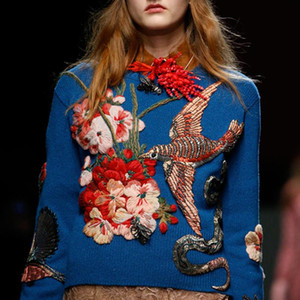2020 Runway Designer Blue Bird Embroidery Women Sweater Pullovers Winter Christmas Beading Knitting Jumper Clothing
