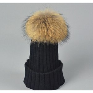 Designer Ladies Knitted Rib Beanies With Real Raccoon Dog Hair Ball Children Fancy Plain Fur Pom Winter Hats Wom wmtYpb dh_seller2010