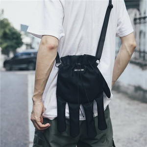 Men Shoulder Bags streetwear bag for women Hip Hop nylon Large Capacity Crossbody Bag Black finger waist pack