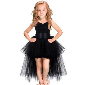 Black Girls Tutu Dress Tulle V-neck Train Girl Evening Birthday Party Dresses Kids Girl Ball Gown Dress Halloween Costume 1-14YY Y1130