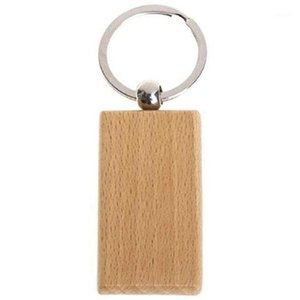 60 pcs retângulo em branco chaveiro de madeira diy madeira keychains chave tags podem gravar diy presentes1