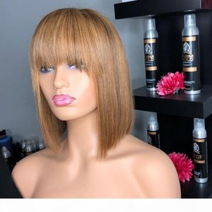 Indian Short Bob Highlight 13x6 Deep Part Lace Front Human Hair Wigs with Bangs Golden Brown Fringe Wigs full lace wig 360 frontal