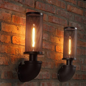 BEIAIDI Retro Industrial Pipe LED Wall Lamp Sconce Creative Mesh Vintage Wall Light Loft Restaurant bedside Bar Cafe Home Light