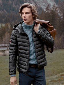 BOSIDENG Dünne Daunenjacke Männer Kurze Kapuzenkaltschicht Mantel Packable Casual Winter Outwear B90131017