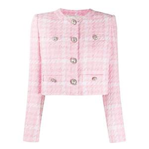 HIGH STREET Newest 2020 Designer Jacket Women's Diamonds Buttons Wool Blends Colors Plaid Tweed Short Jacket