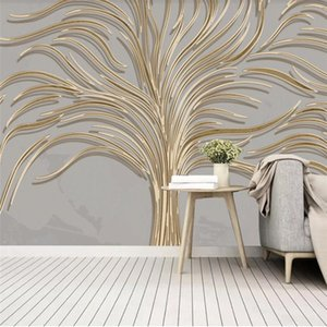 classic wallpaper for walls Beautiful light luxury hand-painted creative tree wallpapers golden embossed line background wall