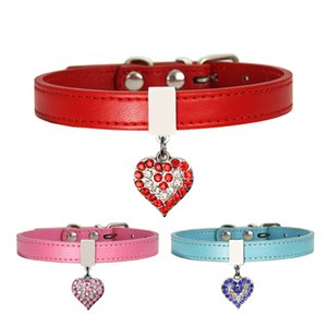 Pet Dog Collar With Diamond Heart Bell Fashion PU Leather Pet Dog Cat Collars Small Dog Neck Adjustable Strap AHA2711