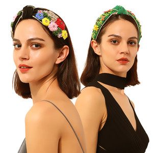 Fashion trendy luxury designer vintage Baroque style beautiful colorful crystal flowers wide velvet headbands hair jewelry for woman girls