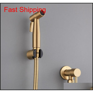 Antique Brushed Gold Douche Kit Hand Held Bidet Sprayer Stainless Steel Toilet Bidet Faucet Shattaf Valve Jet Set Sho jllzWi xmhyard
