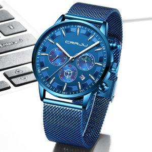 Mens Quartz Watches CRRJU Luxury Full Steel Men's Wristwatches Date Clock Military Waterproof Chronograph Relogio Masculino