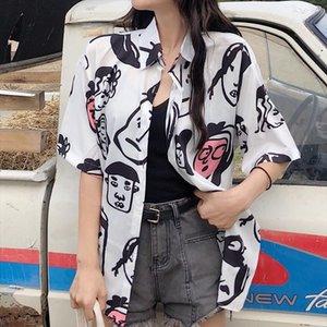 Cute Button Up Turn down Collar Blouses Cartoon Print Blouse Shirt Women Summer Tops 2021 Fashion Casual Short Sleeve Blusas