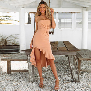 Womens Sexy Bandage Bodycon Strapless Mid Calf Dress Lady Casual Sleeveless High Waist Solid Party Beach Long Dress1