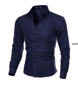 Jh 2021 Men Long Sleeve Shirts Clothes Male Slim -Fitting Tops Pure Color Shirt Men &#039 ;S Clothing F
