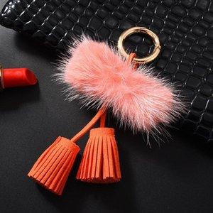 1pc Mink Hair Double Rope Head Leather Tassel Diy Jewelry Garments Decorative Accessories Key Chain Handbag Pendant Craft Tassel H jllUQS