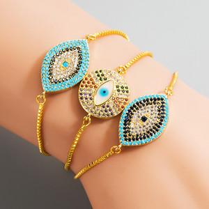 Bracelet oeil mal turc pavée cubique zircon cubique bleu oeil bleu couleur chaîne charme bracelets ajustable femme bracelier juvénier bijoux cadeau
