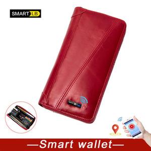 Bluetooth Smart Anti-perso dei raccoglitori delle donne della frizione raccoglitore del cuoio genuino per l'uomo tasca zip lunga Comm borsa