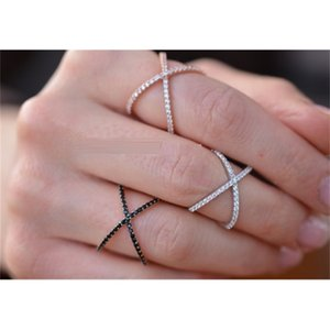 Sterling Silver 925 Criss Cross X Cross Rings, Cross Rings, thin CZ rings,women wedding Micro Pave Ring LJ201009