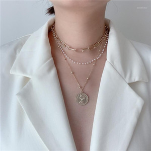 New Multi Pearl Chains Choker Necklace for Women Chunky Jewelry Vintage Metal Coin Pendant Necklace Women Bijoux 20201