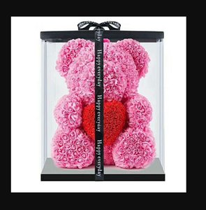 DropShipping 40cm with Heart Big Red Bear Rose Flower Artificial Decoration Christmas Gifts for Women Valentines Gift with box 012