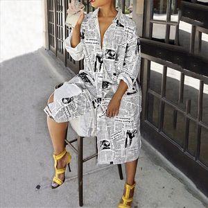 Fashion Newspaper Print Long Sleeve Shirt Dress Women Turn down Collar Button Up Dress Female Streetwear Shirt Vestidos
