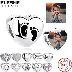 ELESHE Romantik Özel Fotoğraf Kalp Charms Fit Orijinal Pandora Bilezik 925 Ayar Gümüş Boncuk DIY Orijinal Takı Yapımı