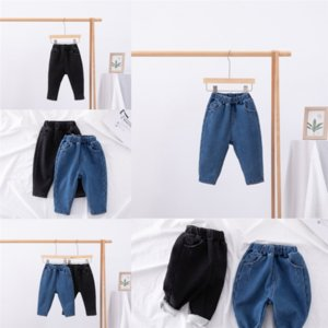 uscLT pants pantsJeans Thicken nine point Keep warm ultra thin new summer loose casual women's boy jeans child Add velvet show