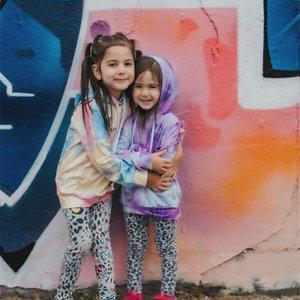 Girlymax menina caindo hoodie bebê menina tintura tintura menina tingido tintura top 201026