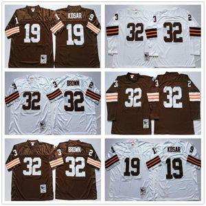 NCAA Vintage Brown Jerseys 32 # Jim Brown 19 # Bernie Kosar Jersey de football cousu Taille 48 50 52 54 56 Non Nom