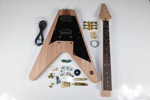 1 set chitarra elettrica Kit 22 Guitar Neck Guitar Body Mahogany Rosewood V Forma